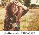 fisher woman. retro styled...   Shutterstock . vector #718568572