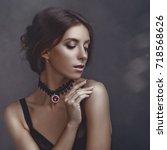 sensuality. beauty brunette ...   Shutterstock . vector #718568626