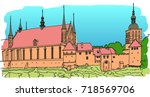 an old fortress on the shore of ... | Shutterstock .eps vector #718569706