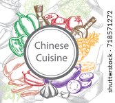 chinese cuisine  ingredients of ... | Shutterstock .eps vector #718571272