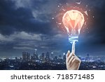 female hand pointing at...   Shutterstock . vector #718571485