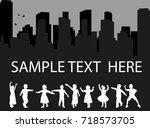 isolated silhouette of children ... | Shutterstock . vector #718573705