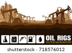 oil rig industry silhouettes ... | Shutterstock .eps vector #718576012