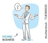 clueless young man in business... | Shutterstock .eps vector #718580035