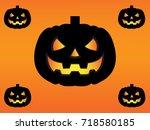 halloween pumpkin background | Shutterstock .eps vector #718580185