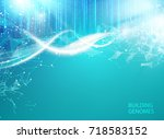 blue background with dna. blue... | Shutterstock .eps vector #718583152