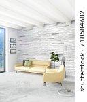 white bedroom minimal style... | Shutterstock . vector #718584682