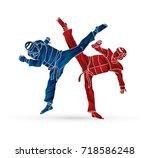 taekwondo fighting designed...