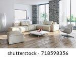 modern bright interiors. 3d... | Shutterstock . vector #718598356