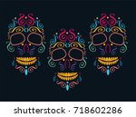 day of the dead skull and... | Shutterstock .eps vector #718602286