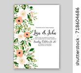floral wedding invitation... | Shutterstock .eps vector #718604686