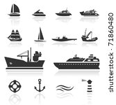 icon set  boats | Shutterstock .eps vector #71860480