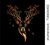 ethnic colored head of deer... | Shutterstock .eps vector #718606402