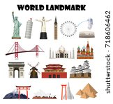 a set of a real world landmark | Shutterstock .eps vector #718606462