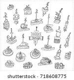 hand drawn vector doodle... | Shutterstock .eps vector #718608775