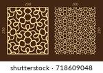 laser cutting set. woodcut... | Shutterstock .eps vector #718609048