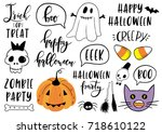 halloween lettering set with... | Shutterstock .eps vector #718610122