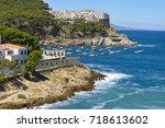 aerial view of sa tuna beach...   Shutterstock . vector #718613602