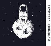 astronaut keeps smartphone... | Shutterstock .eps vector #718616266