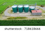 aerial view of a group silos... | Shutterstock . vector #718618666