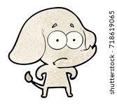 cartoon unsure elephant | Shutterstock .eps vector #718619065