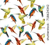 seamless pattern of birds in... | Shutterstock . vector #718624342