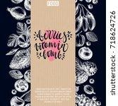 vector hand drawn berries... | Shutterstock .eps vector #718624726