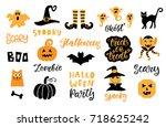 halloween design elements set.... | Shutterstock .eps vector #718625242