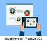 hand holds a tablet. concepts...   Shutterstock .eps vector #718626022
