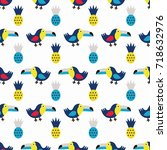 toucan seamless pattern with... | Shutterstock .eps vector #718632976