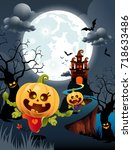 halloween pumpkins and scary... | Shutterstock .eps vector #718633486