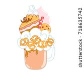 overshake cocktail character ... | Shutterstock .eps vector #718635742