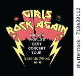 girls rock again  rock print... | Shutterstock .eps vector #718638112