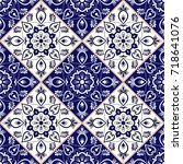 delft dutch tile pattern vector ... | Shutterstock .eps vector #718641076