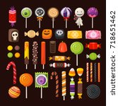 set of colorful halloween... | Shutterstock .eps vector #718651462