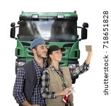 young couple truck drivers... | Shutterstock . vector #718651828
