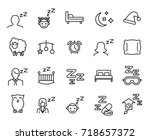 premium set of sleep line icons.... | Shutterstock .eps vector #718657372