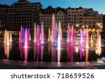 musical fountain with colorful... | Shutterstock . vector #718659526