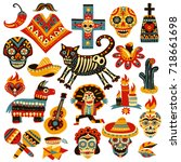 Stock vector set of mexican holiday symbols of day of dead including skulls sombrero music instruments 718661698