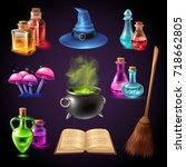 halloween realistic set with... | Shutterstock .eps vector #718662805
