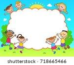 kids diploma certificate... | Shutterstock .eps vector #718665466