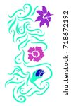 colorful flower vector with... | Shutterstock .eps vector #718672192