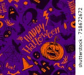 haloween seamless pattern in... | Shutterstock . vector #718672672