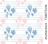 cute hand drawn floral seamless ... | Shutterstock .eps vector #718673146