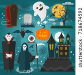 vector illustration of vampire  ... | Shutterstock .eps vector #718674592