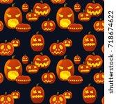 seamless pattern pumpkin... | Shutterstock .eps vector #718674622