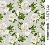 seamless vector white peonies...   Shutterstock .eps vector #718675222