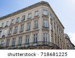 facade of a residential block... | Shutterstock . vector #718681225