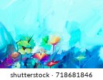 abstract colorful oil painting... | Shutterstock . vector #718681846
