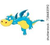 cartoon dragon flying  isolated ... | Shutterstock .eps vector #718683592